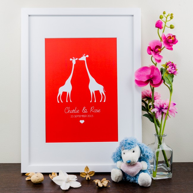 Giraffe Design - Personalised Art Print
