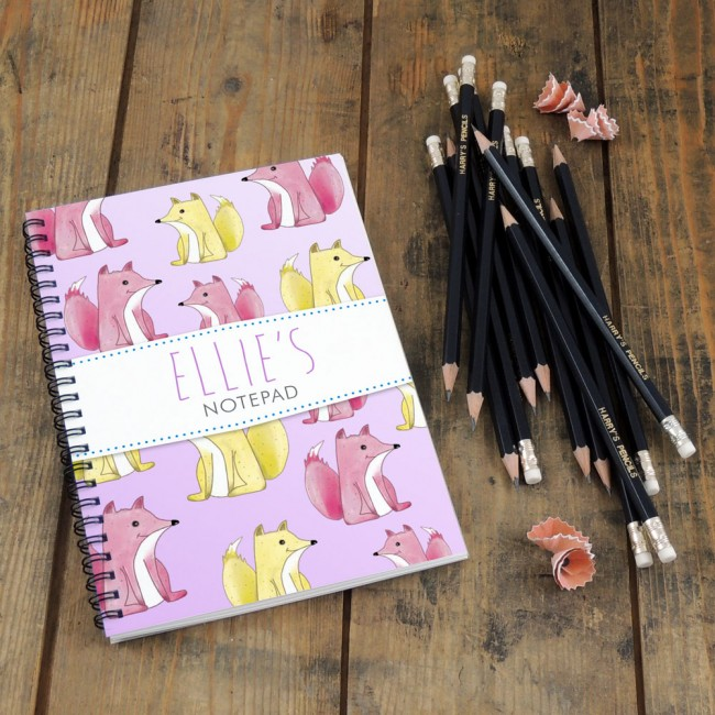 Foxes Pink Notebook & Pencil Gift Set