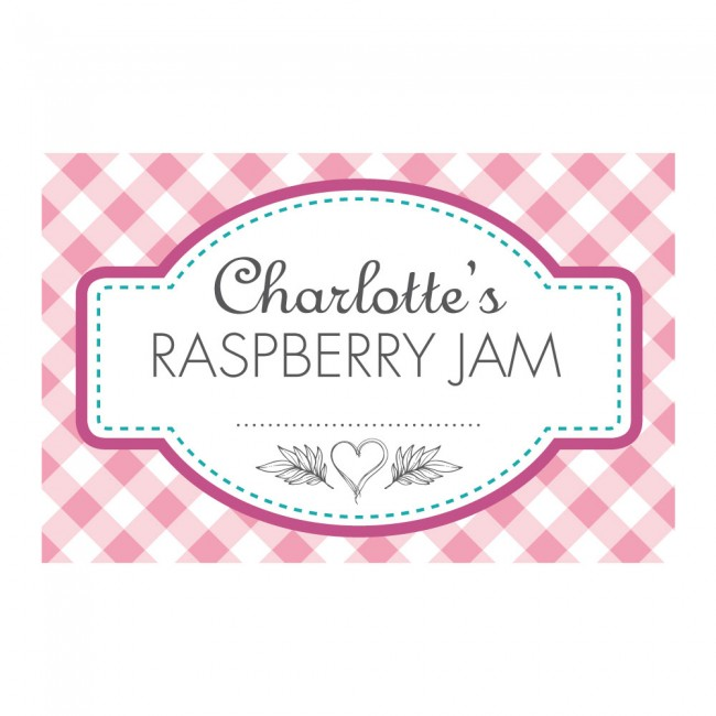 Gingham pink jam jar labels