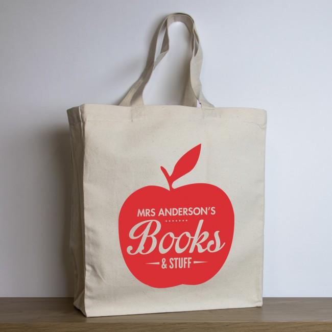 Personalised Teacher Tote Bag – Apple Design