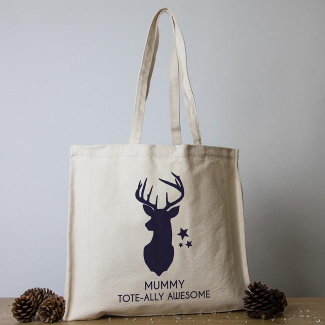 Personalised Christmas Tote Bag - Reindeer Head