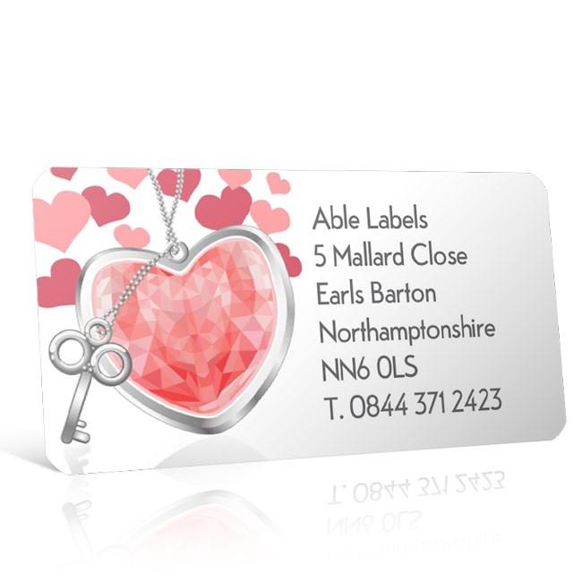 Pre Designed Hearts & Keys Address Label on A4 Sheets