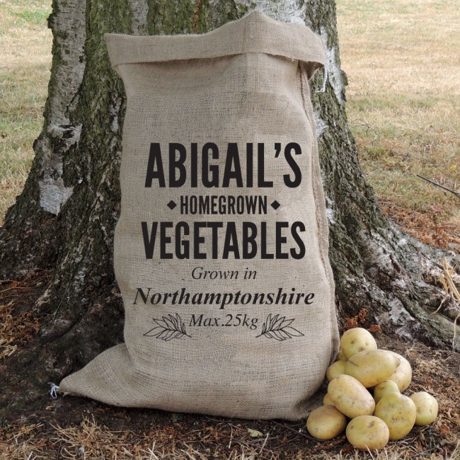 Personalised Homegrown Produce Hessian Sack
