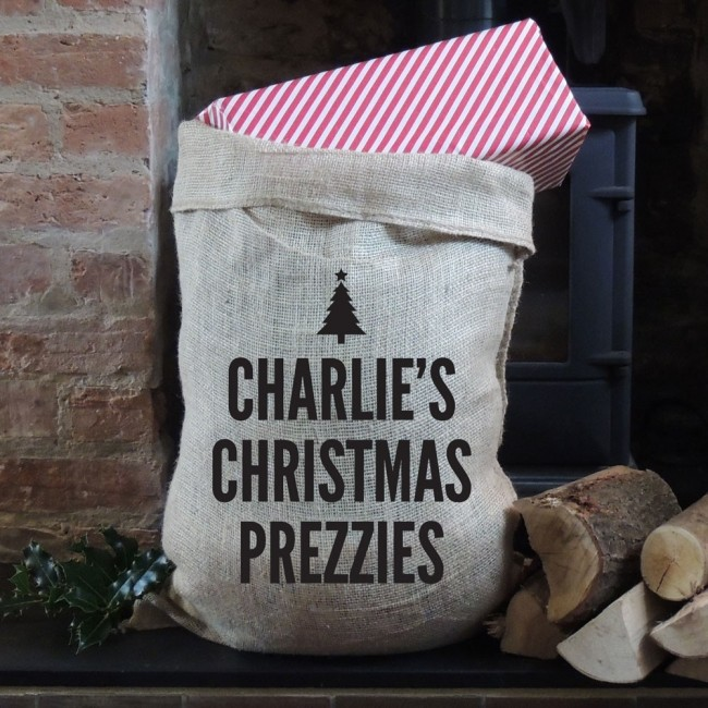 Personalised Christmas Your Own Message Hessian Sack