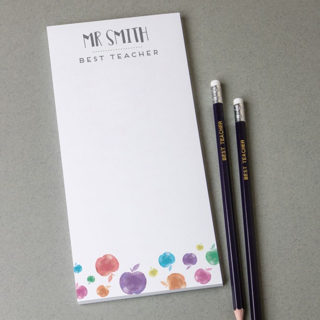 Personalised teacher note pad – apple print design