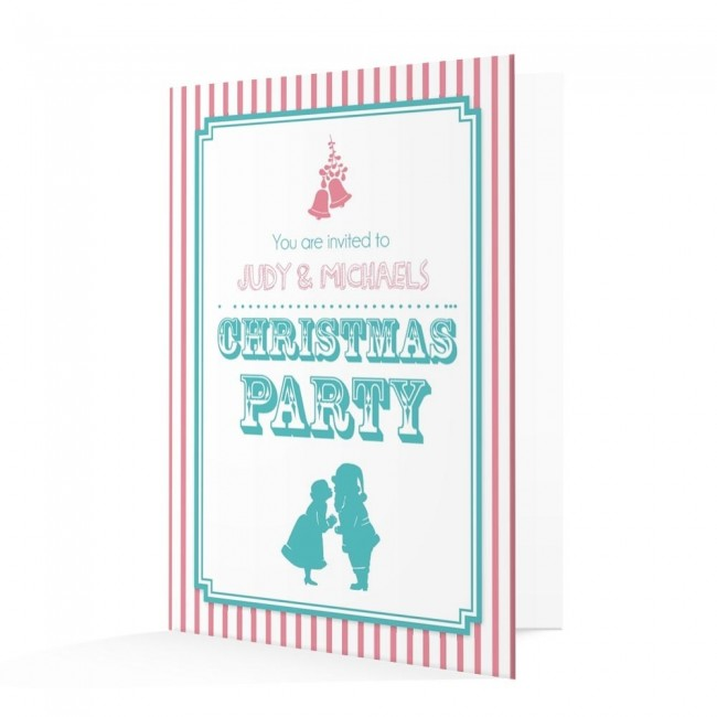 Christmas Invitation Card - Pink and Blue Candy Stripe