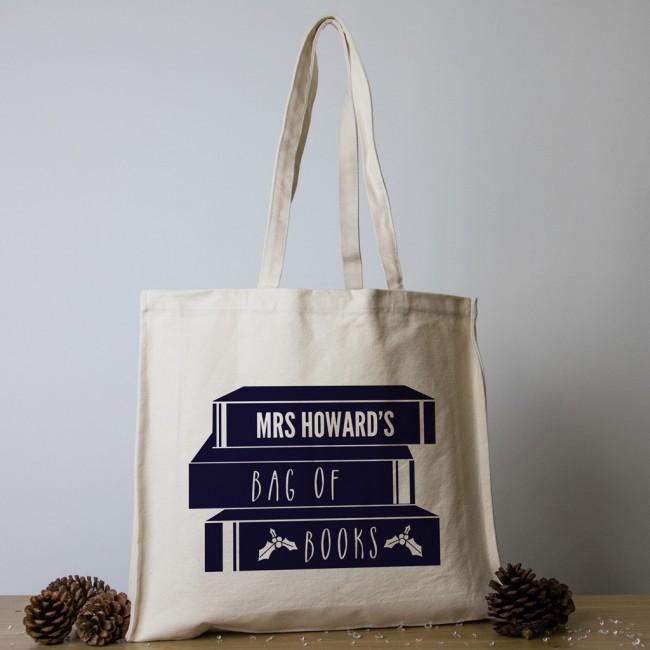 Personalised Teacher Christmas Tote Bag - Pile of Books