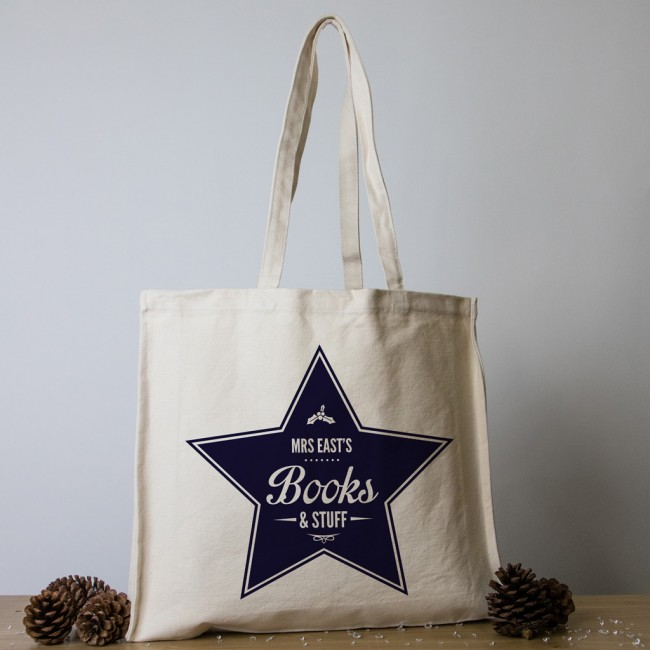 Personalised Teacher Christmas Tote Bag - Star Books and Stuff