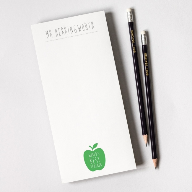 Personalised Teacher Notepad and Pencils - Apple