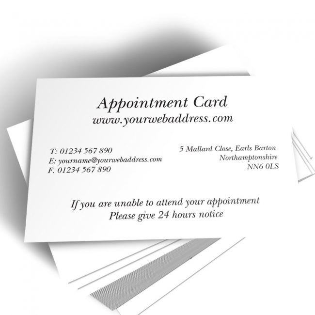 Printed Appointment Card With Personalised Split Text
