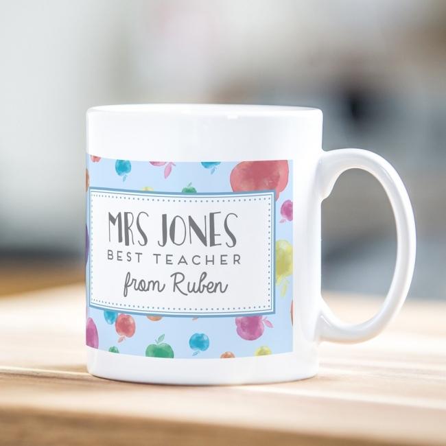 Personalised teacher mug - apple print design