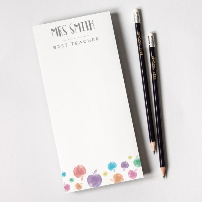 Personalised teacher note pad – apple print design