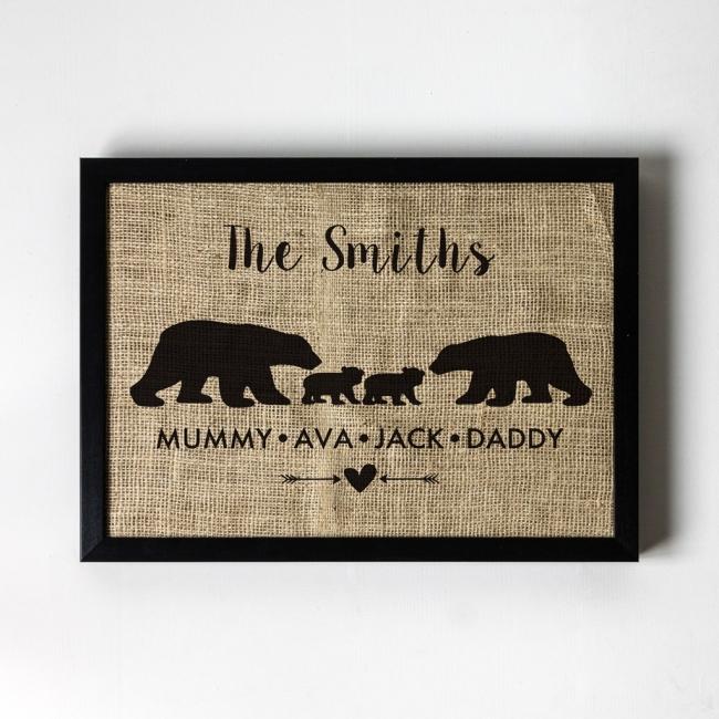 Family of Bears - Personalised Hessian Art Print