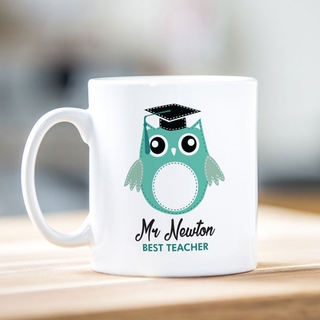 Best Teacher Green Owl Mug