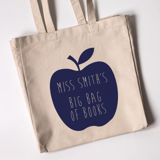 Teacher Tote Bag - Apple (Natural)