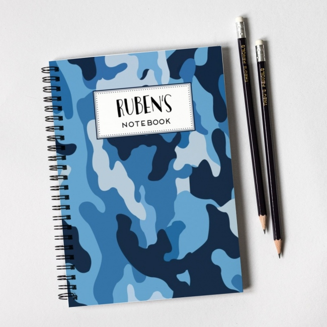 Blue Camouflage Pattern Notebook & Pencil Gift Set