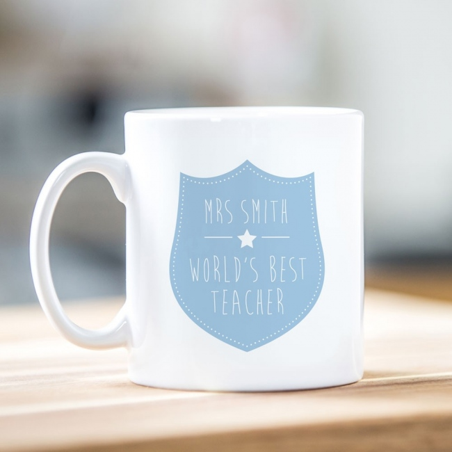 Blue Shield Teacher Mug