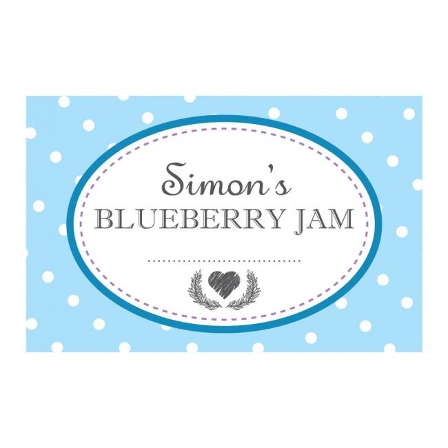 Spotty Blue - Jam Jar Labels