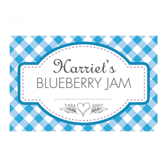 Gingham Blue - Jam Jar Labels