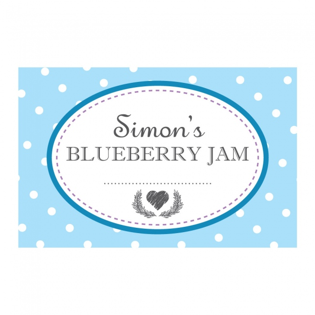 Spotty Blue - Jam Jar Labels