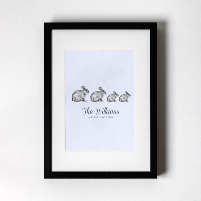 Family of Bunnies - Personalised Art Print (Black Frame)