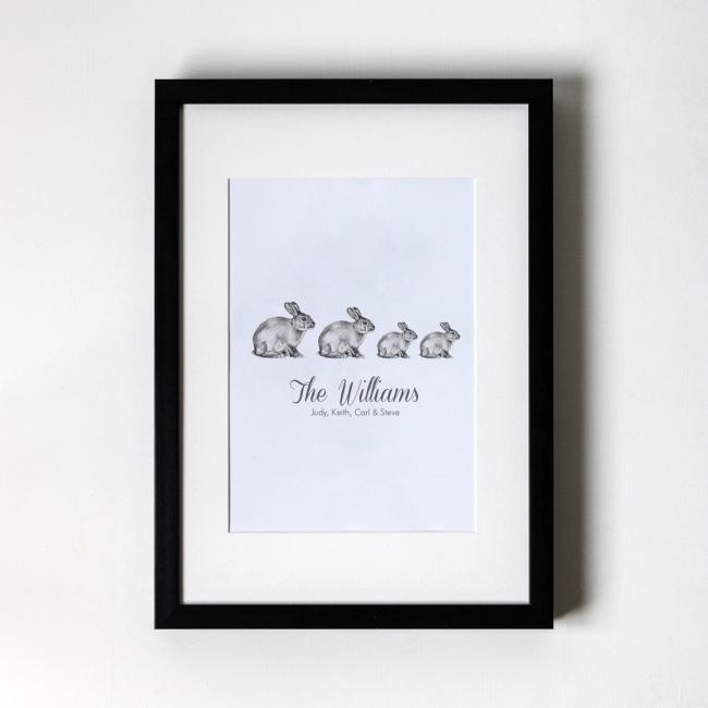 Family of Bunnies - Personalised Art Print (Black Frame)