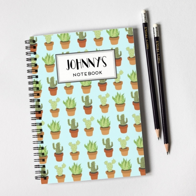 Cactus Pattern Notebook & Pencil Gift Set
