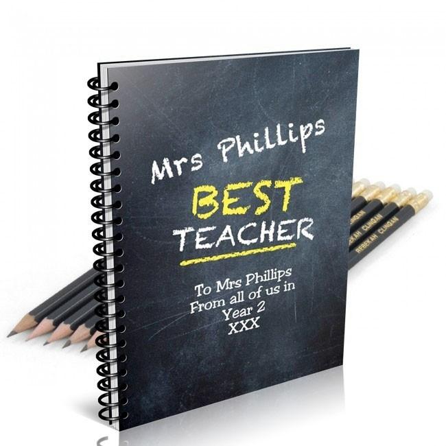 Chalk Board Notebook & 12 Graphite Pencils