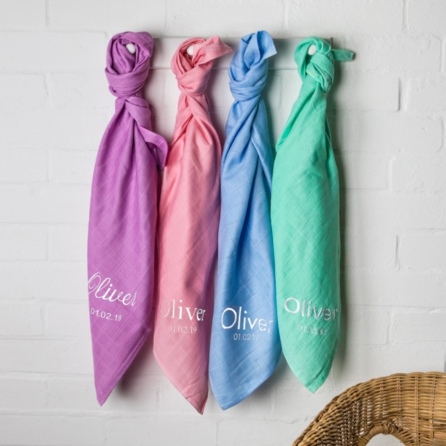 Personalised Coloured Baby Muslins - 3 Pack