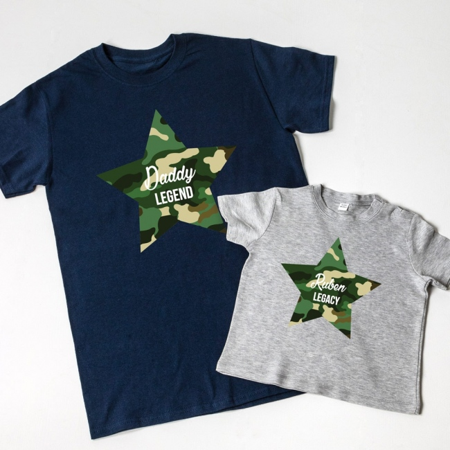 Personalised Camo Father's Day T-Shirt Set