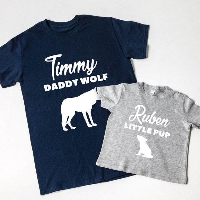 Daddy Wolf & Little Pup T-shirt Set