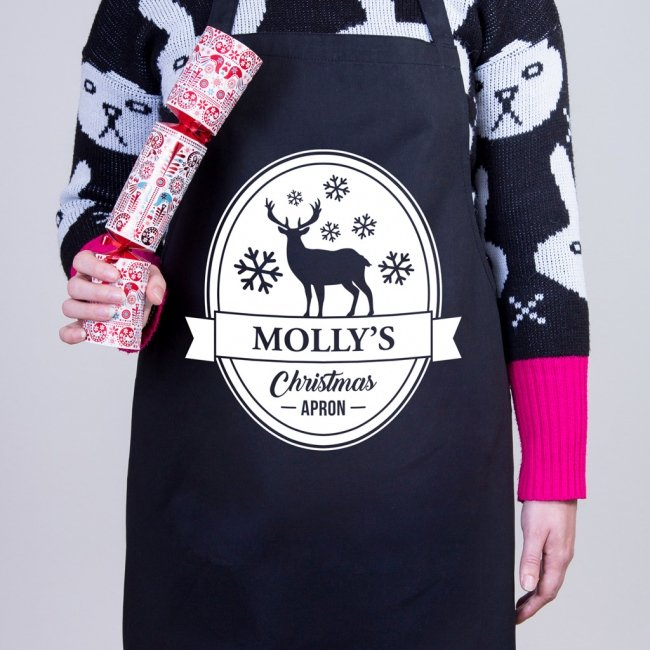 Personalised Christmas Apron - Reindeer Shield