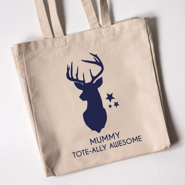 Personalised Christmas Tote Bag - Reindeer Head