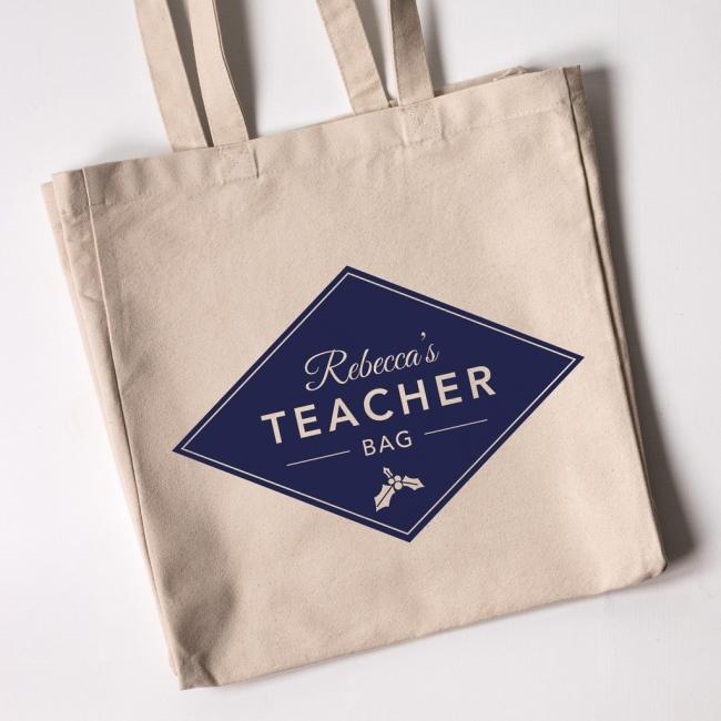 Personalised Christmas Teacher Tote Bag - Diamond