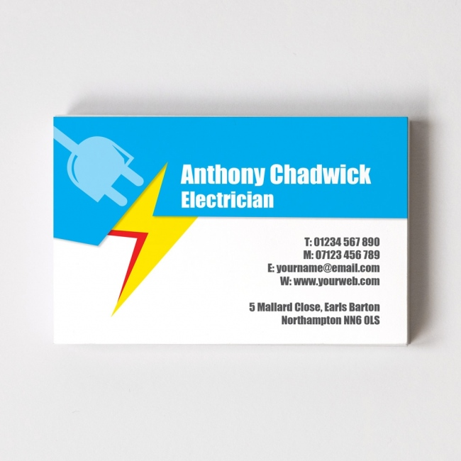 Electrician business cards able labels templated business card electrician 2 reheart Gallery