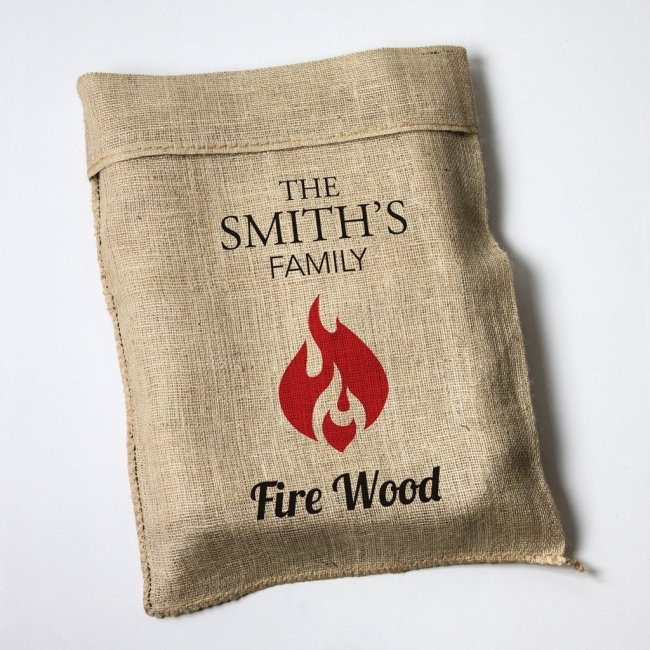 Personalised Flame Motif Hessian Log Sack