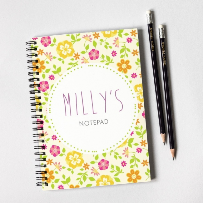 Flowers Notebook & Pencil Gift Set