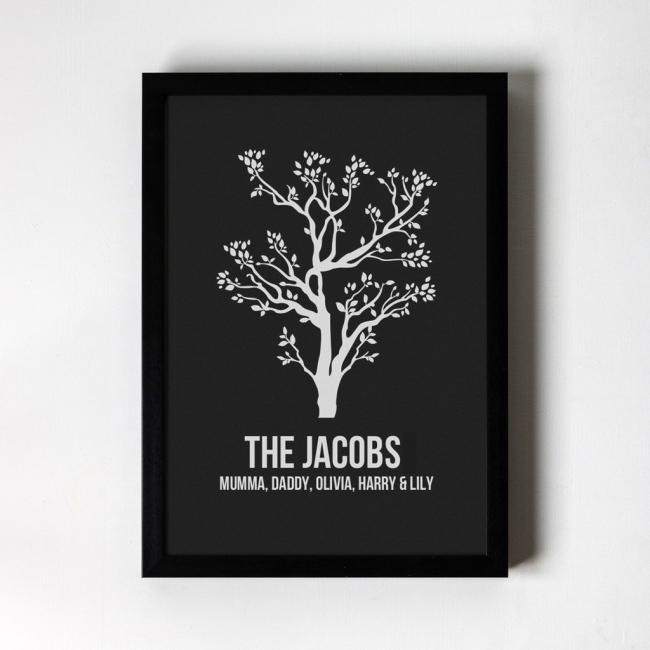 Personalised Foiled Art Print - Tree - Black Frame