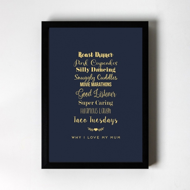 Personalised Foiled Art Print - Why I love... Swirly Font