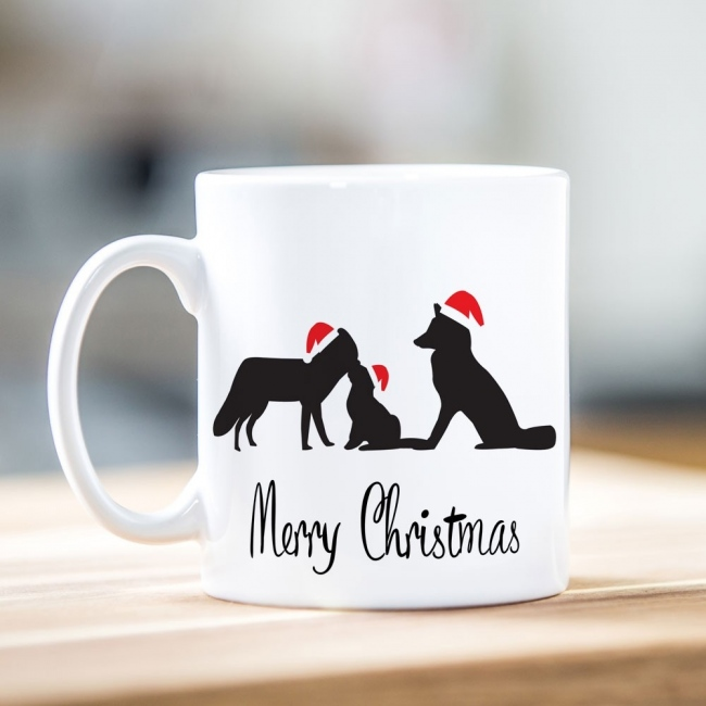 Family of Foxes Christmas Mug