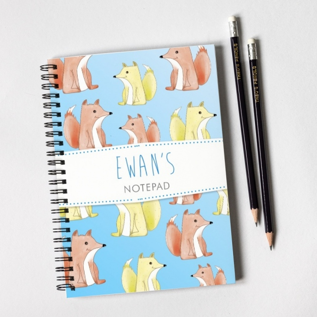Foxes Blue Notebook & Pencil Gift Set