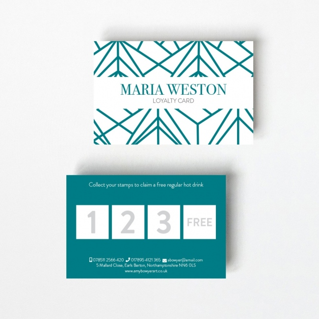 Geometric Loyalty Card - 4 Boxes