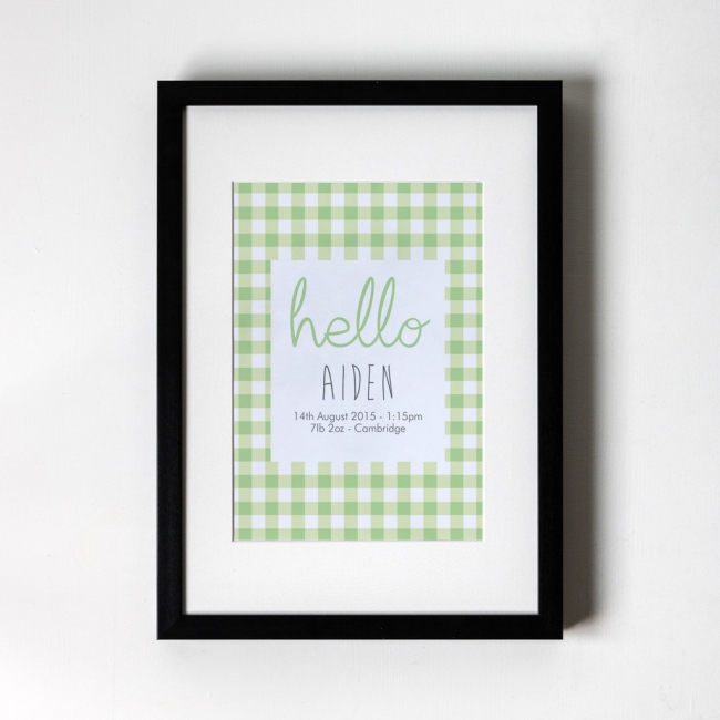 Gingham - Personalised Art Print