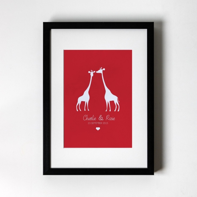 Giraffe Design - Personalised Art Print