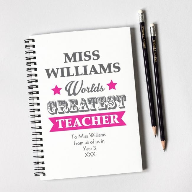 Worlds Greatest Teacher Pink Notebook & 12 Graphite Pencils