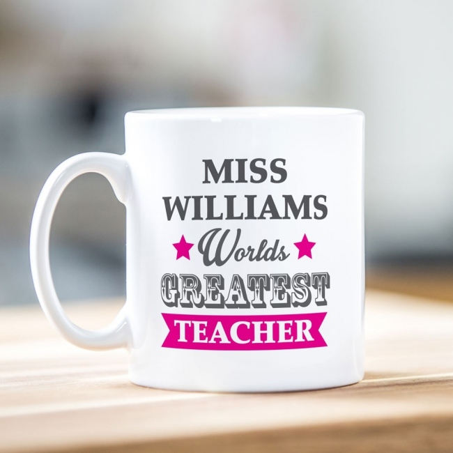 Worlds Greatest Teacher Pink Mug