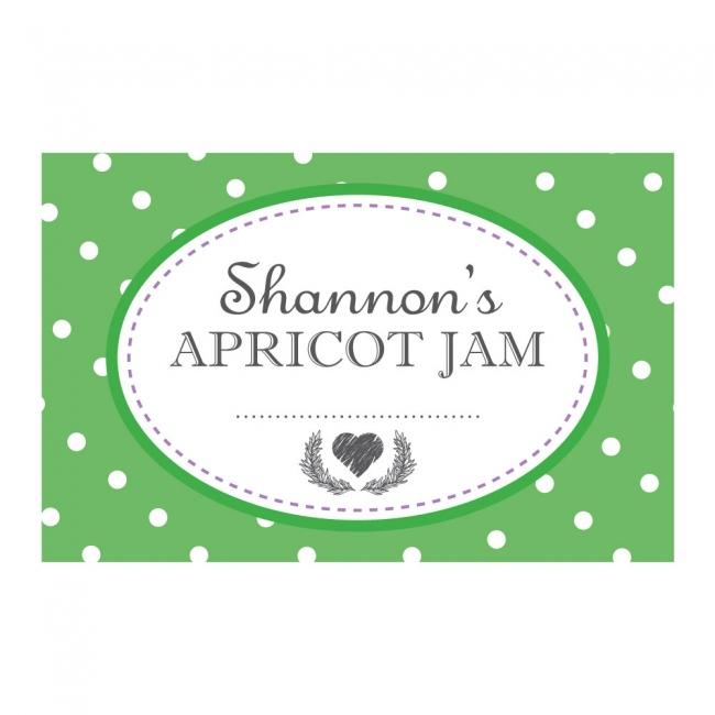 Spotty Green - Jam Jar Labels