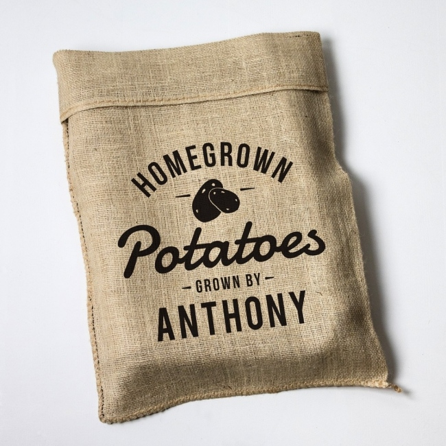Personalised Homegrown Design Hessian Sack with Motif