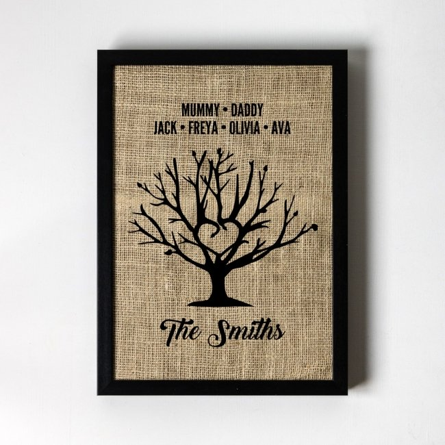 Personalised Family Tree Hessian Framed Art Print