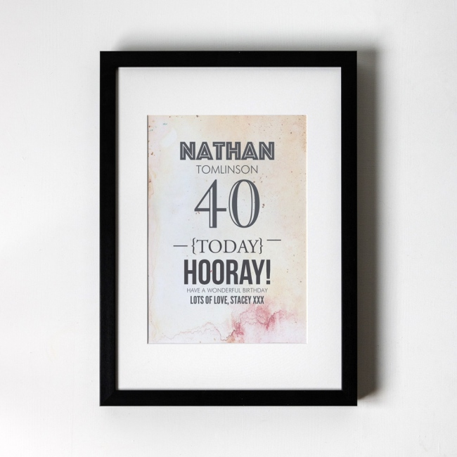 Vintage Birthday - Personalised Art Print
